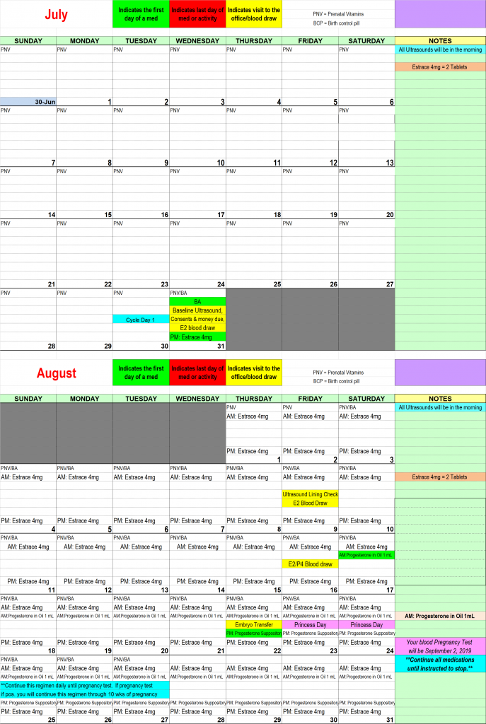 This is my IVF Timeline calendar for my first Frozen embryo transfer.